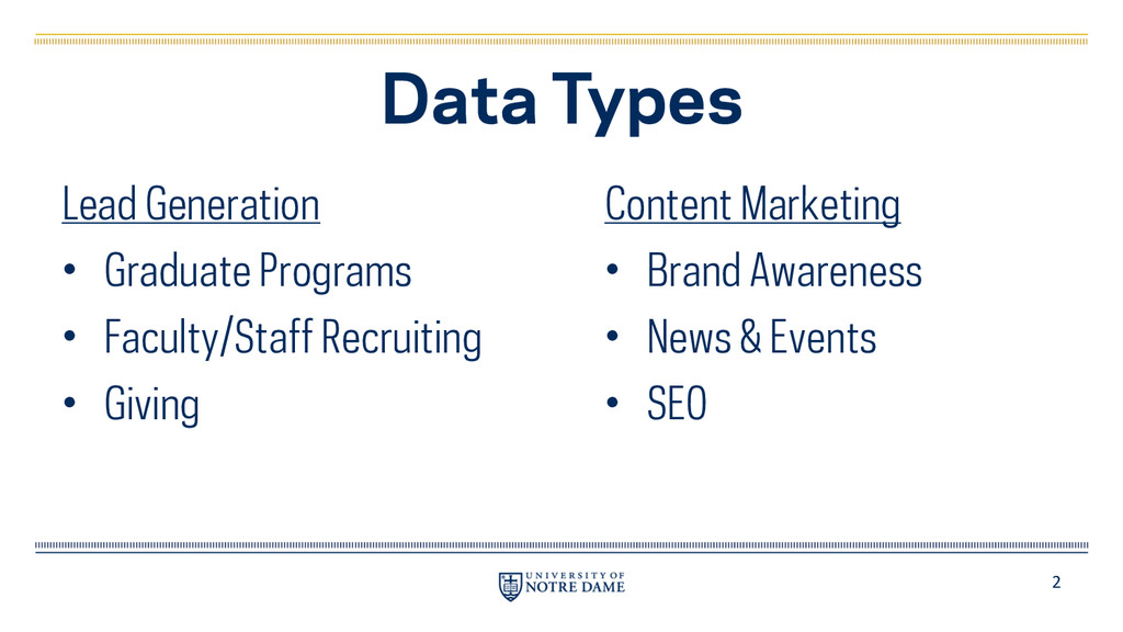 2 Data Types Lead Generation • Graduate Program...