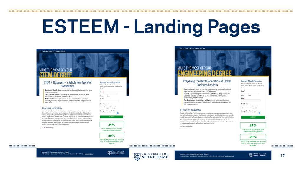 10 ESTEEM - Landing Pages