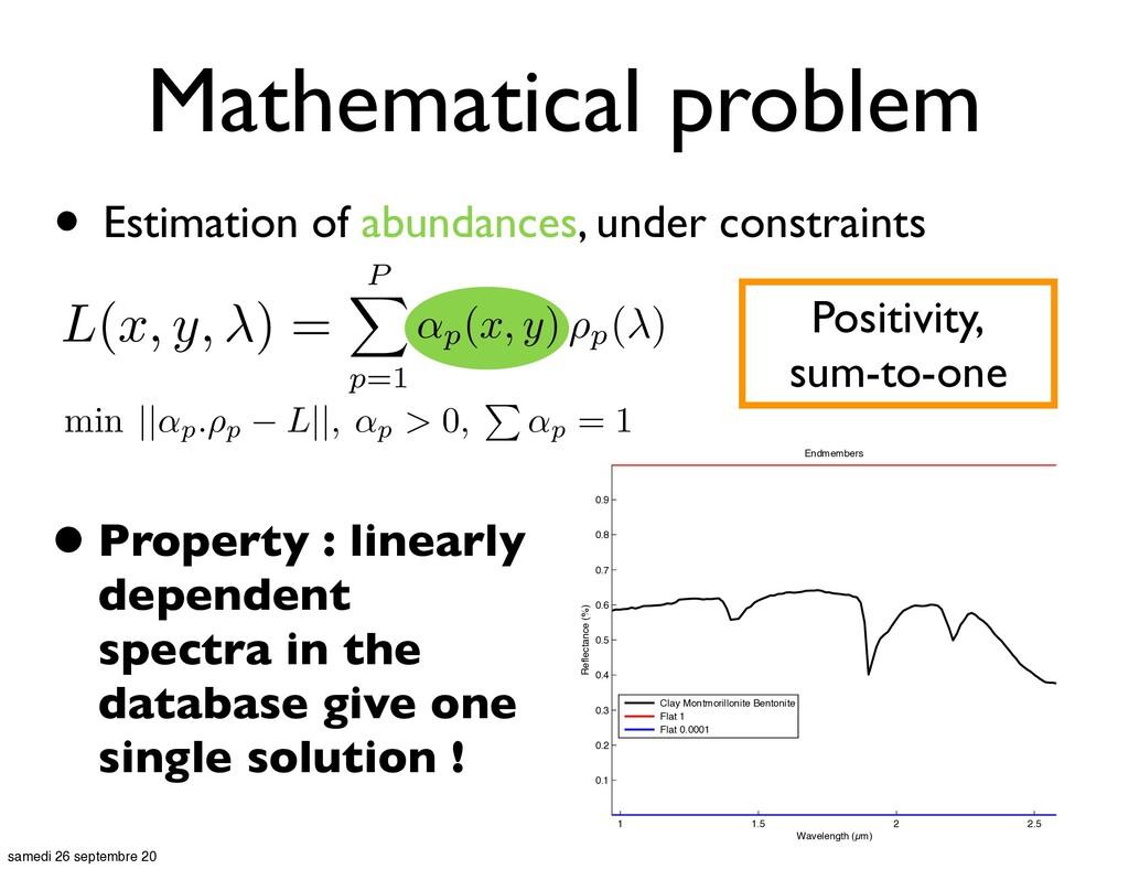 Mathematical problem • Estimation of abundances...