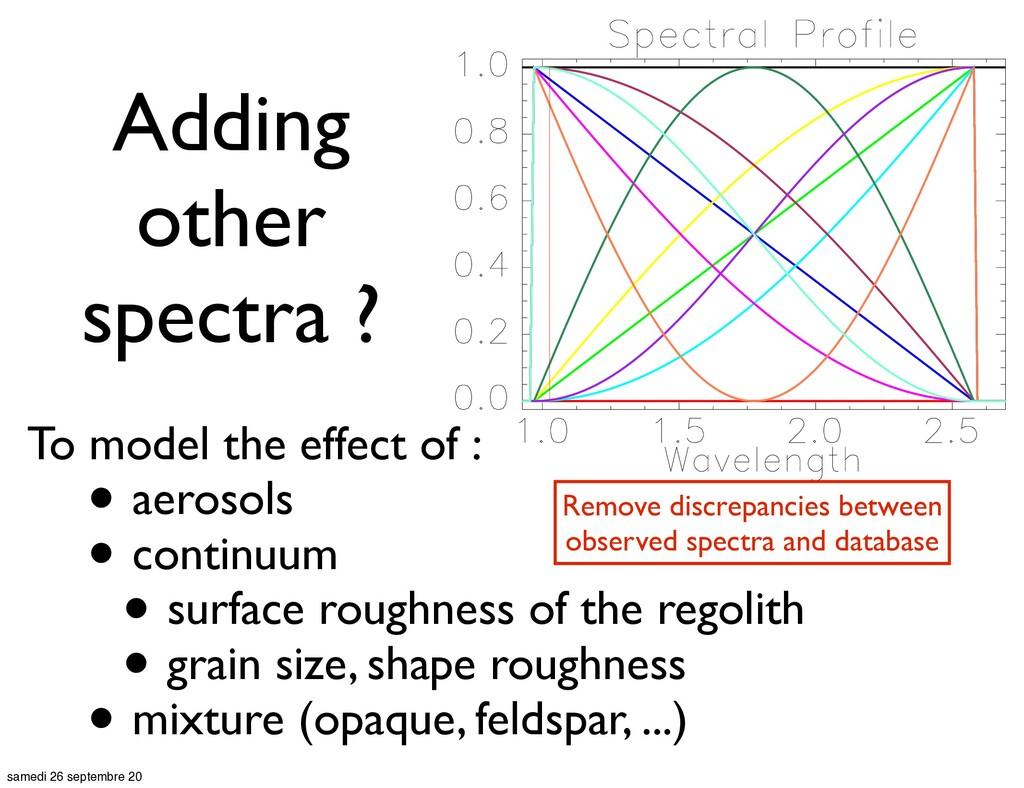 To model the effect of : • aerosols • continuum...