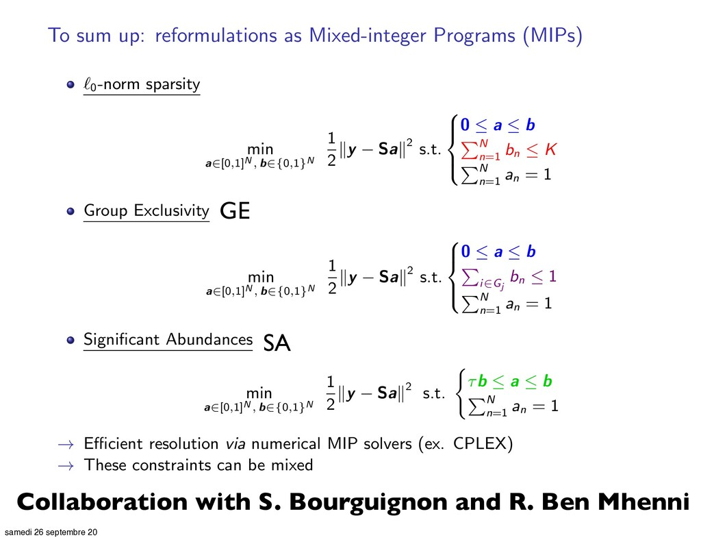 To sum up: reformulations as Mixed-integer Prog...