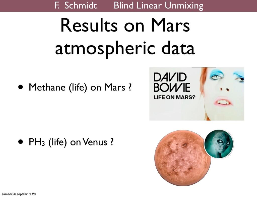 Results on Mars atmospheric data • Methane (lif...
