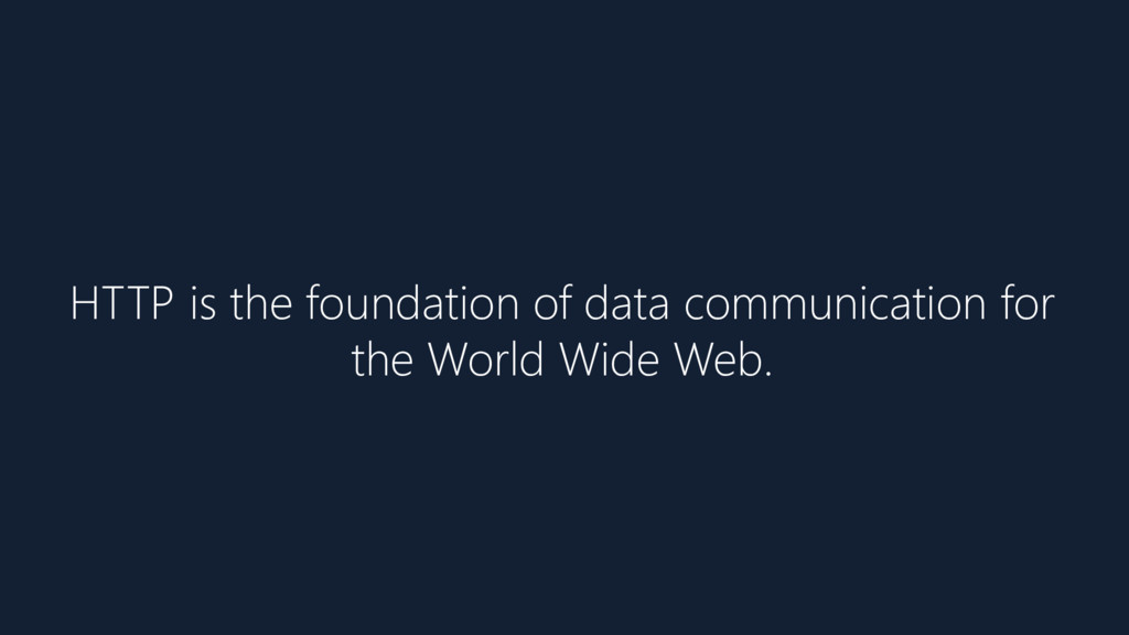 HTTP is the foundation of data communication fo...