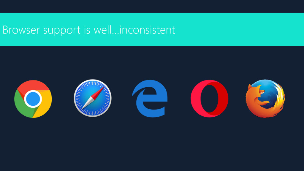 Browser support is well…inconsistent