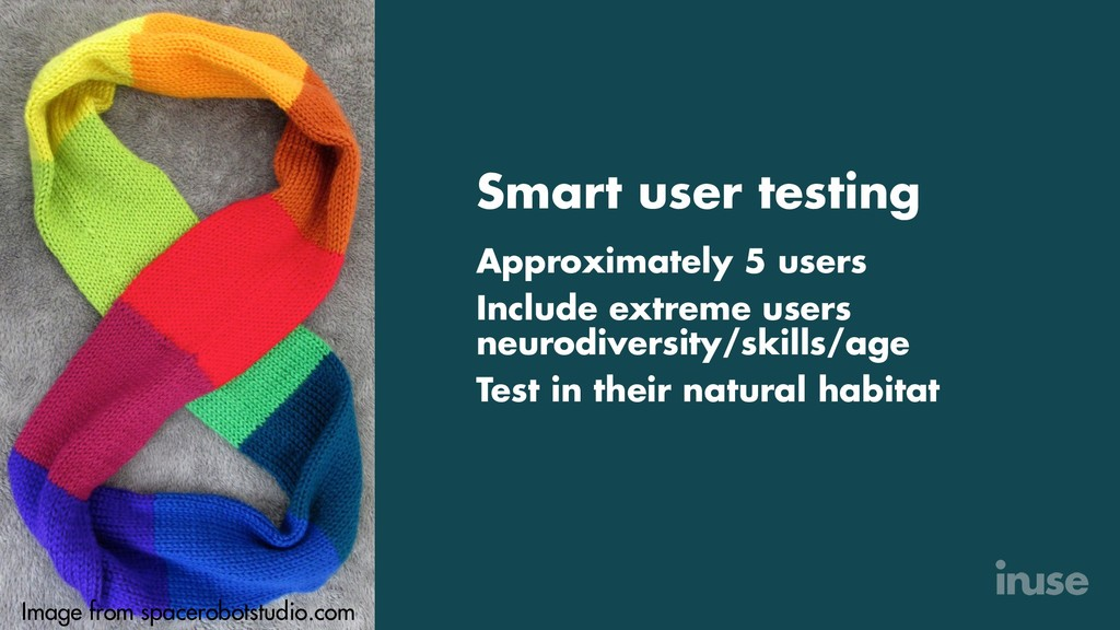 Smart user testing Approximately 5 users Includ...