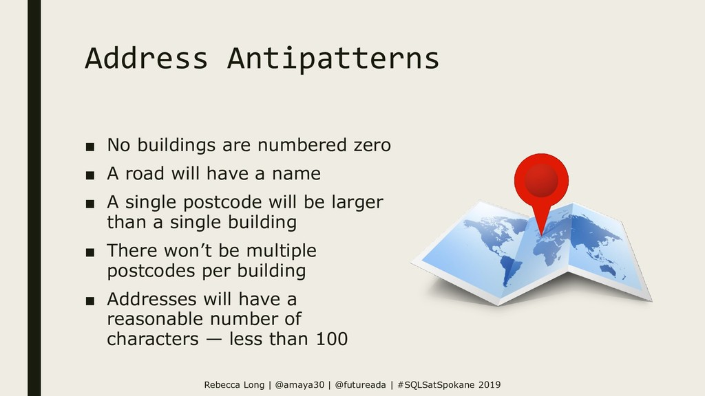 Address Antipatterns ■ No buildings are numbere...
