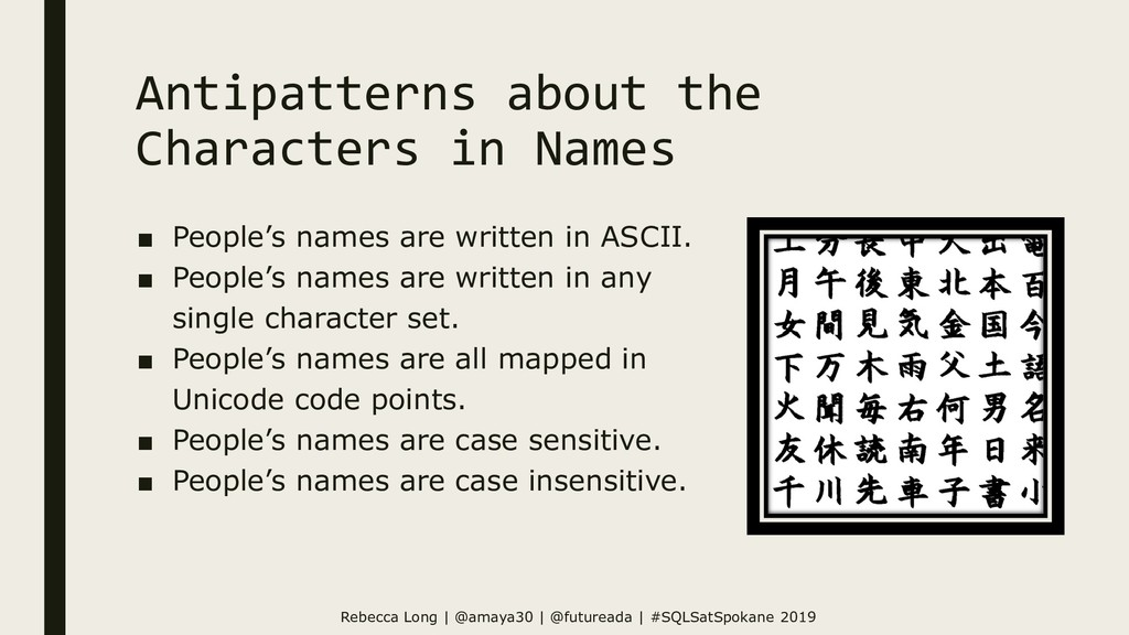 Antipatterns about the Characters in Names ■ Pe...