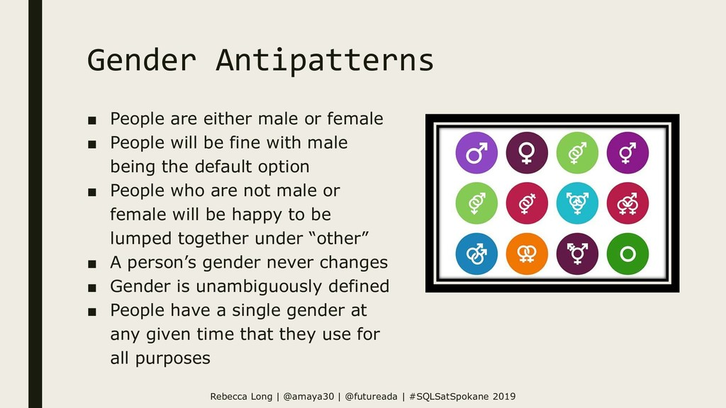Gender Antipatterns ■ People are either male or...