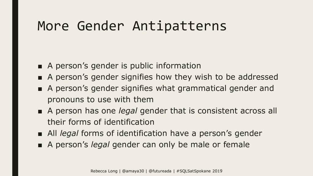 More Gender Antipatterns ■ A person's gender is...