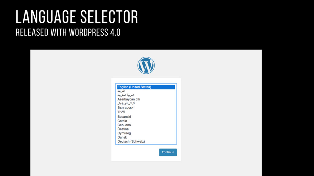 language selector released with wordpress 4.0