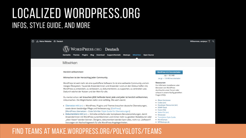 localized wordpress.org infos, style guide, and...