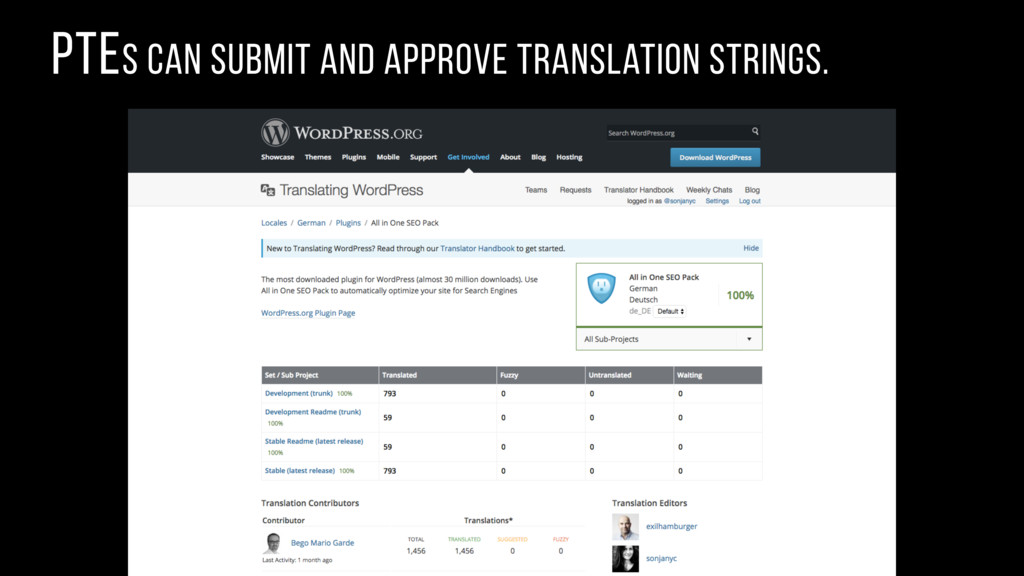 PTEs can submit and approve translation strings.