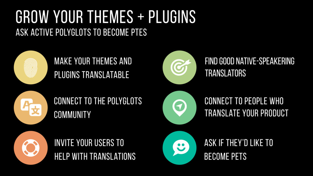 grow your themes + Plugins ask active polyglots...