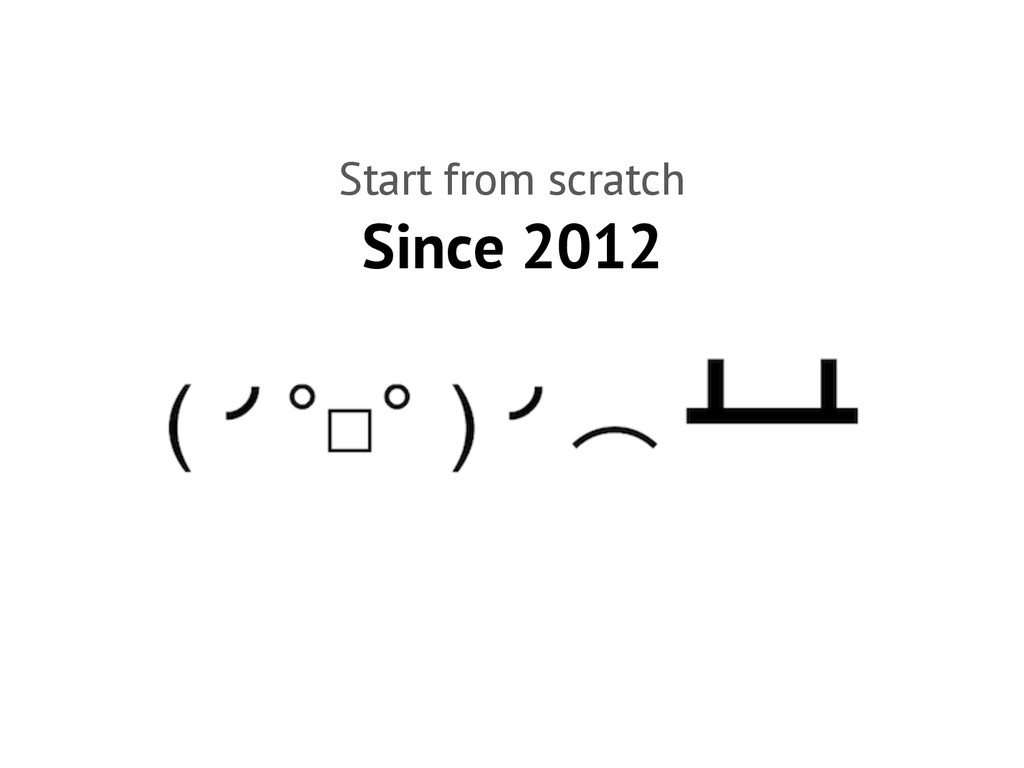 Since 2012 Start from scratch