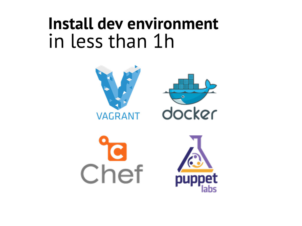 Install dev environment in less than 1h
