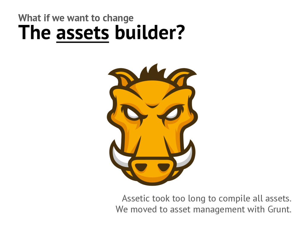 What if we want to change The assets builder? A...