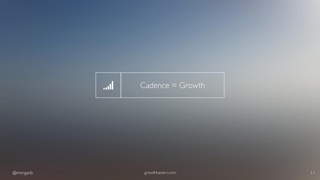 @morganb growthhackers.com 11 Cadence = Growth