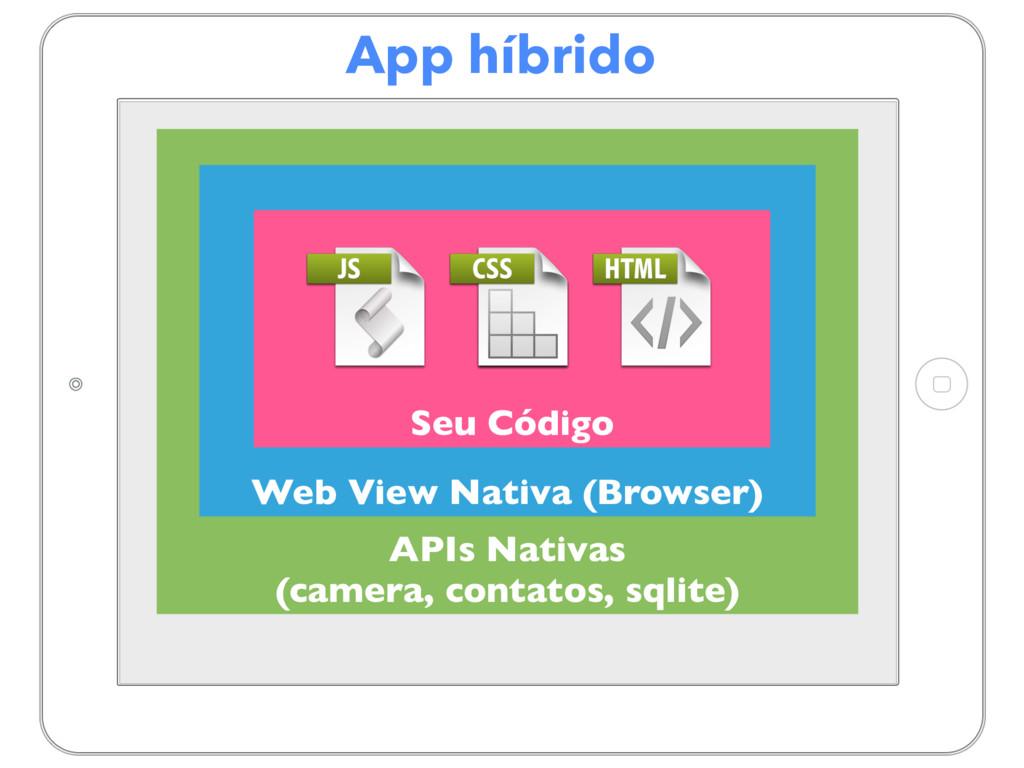 App híbrido APIs Nativas (camera, contatos, sql...