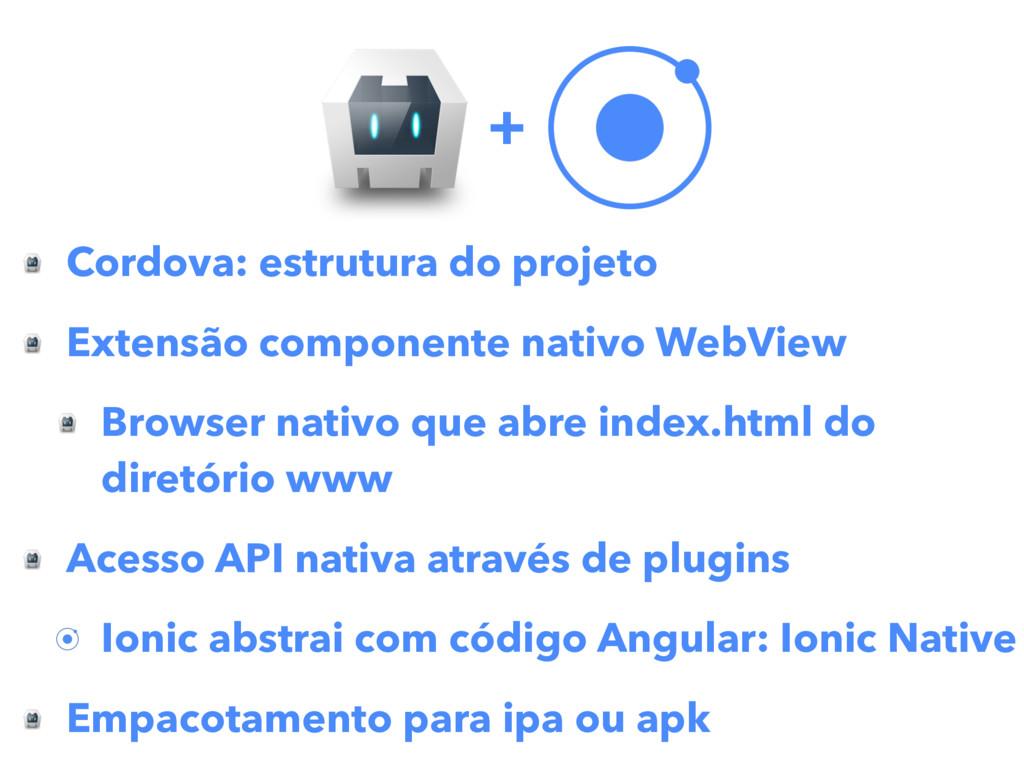 Cordova: estrutura do projeto Extensão componen...