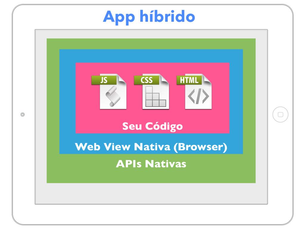 App híbrido APIs Nativas Web View Nativa (Brows...