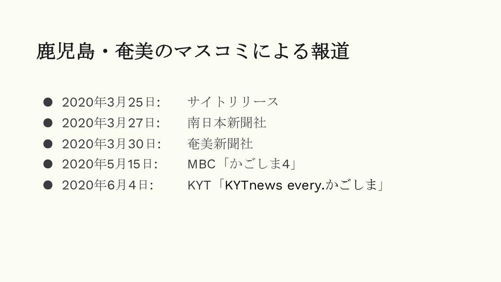 ● 2020年3月25日: サイトリリース ● 2020年3月27日: 南日本新聞社 ● 20...