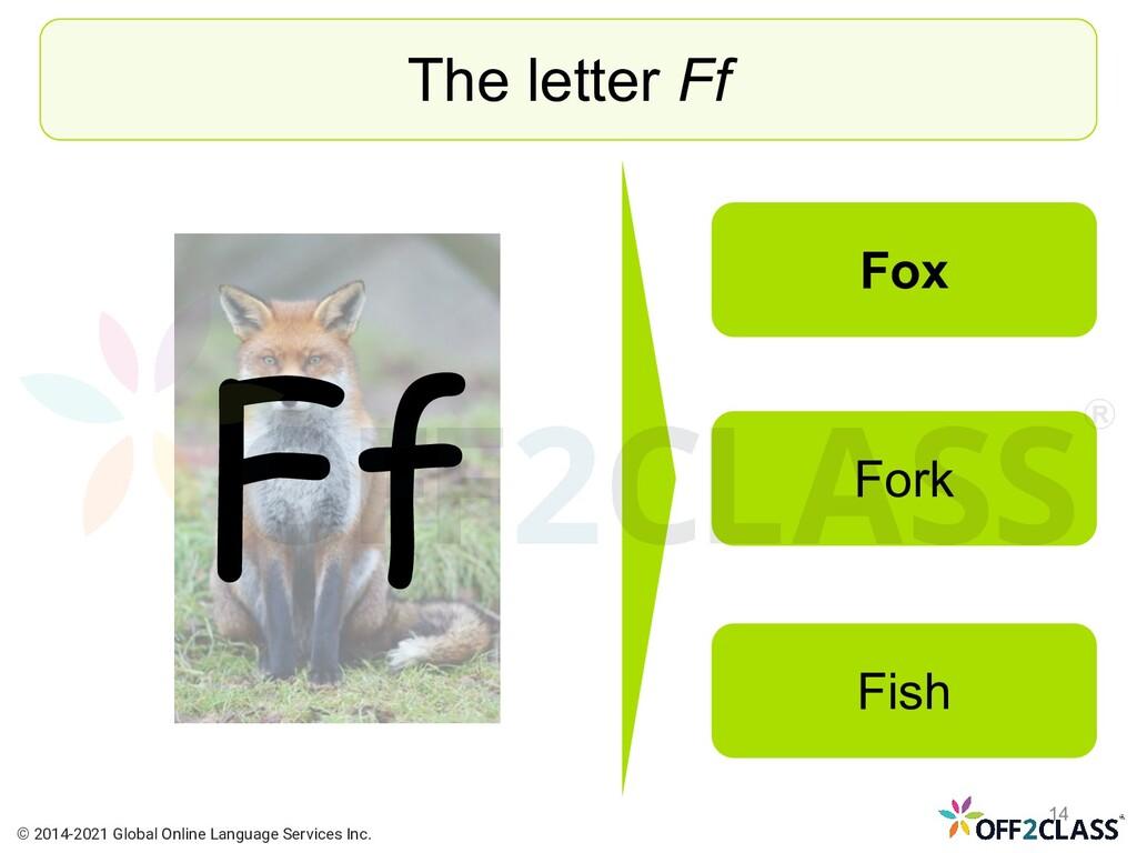 Ff The letter Ff Fox Fork Fish © 2014-2021 Glob...
