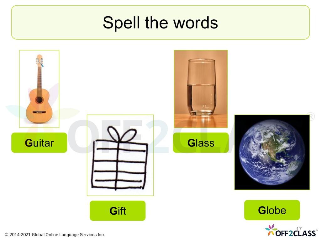 Spell the words Guitar Gift Globe Glass © 2014-...