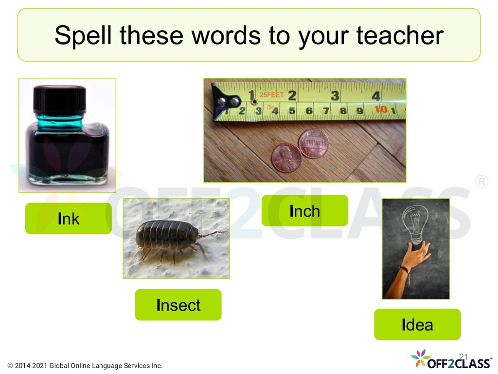 Spell these words to your teacher Insect Idea I...