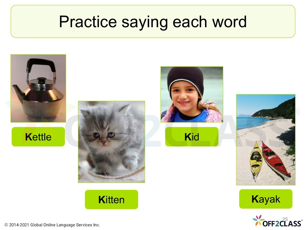 Practice saying each word Kitten Kid Kettle Kay...
