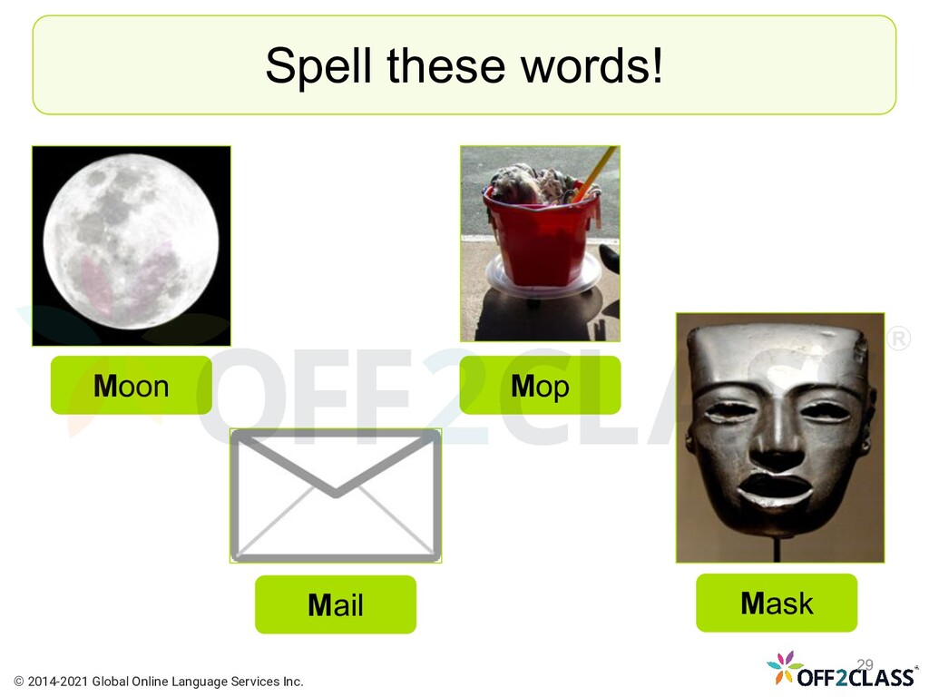 Spell these words! Moon Mail Mask Mop © 2014-20...