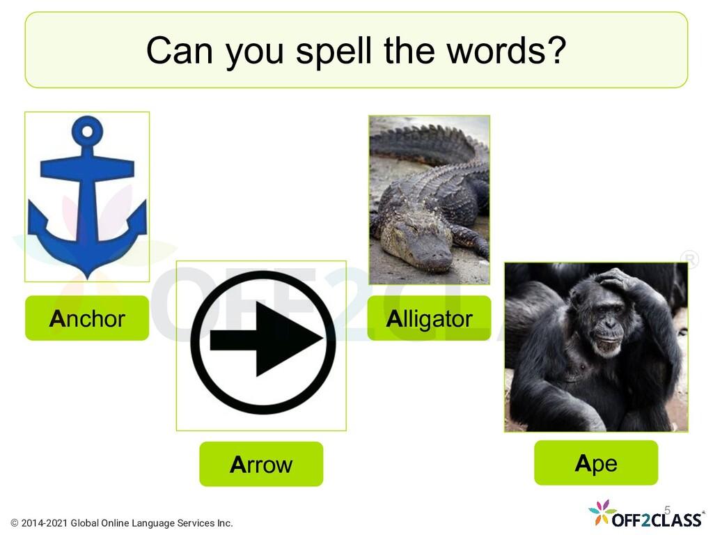 Can you spell the words? Anchor Arrow Ape Allig...
