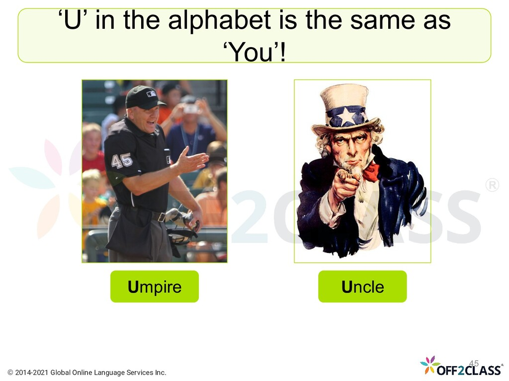 'U' in the alphabet is the same as 'You'! Umpir...