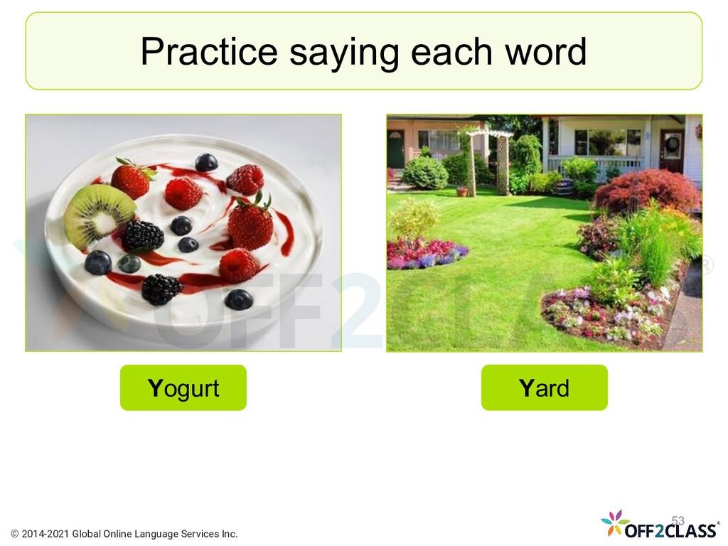 Practice saying each word Yogurt Yard © 2014-20...