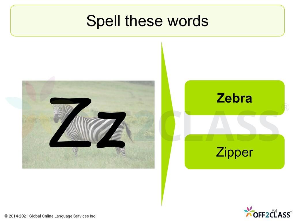 Zz Spell these words Zebra Zipper © 2014-2021 G...