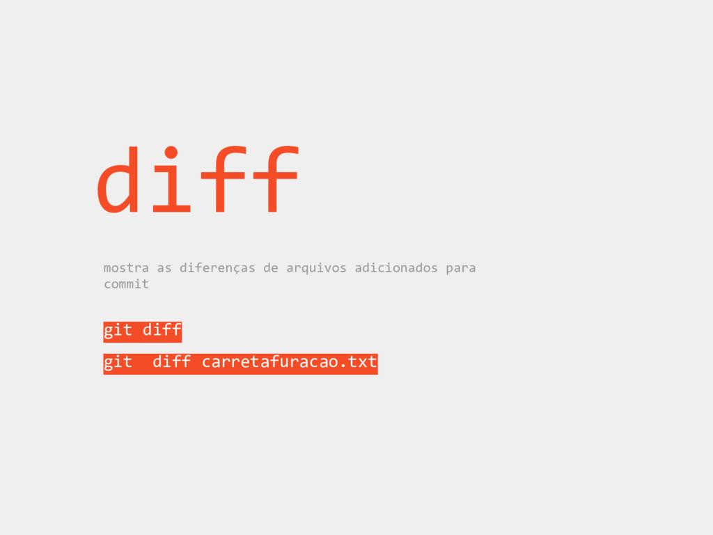 diff mostra as diferenças de arquivos adicionad...