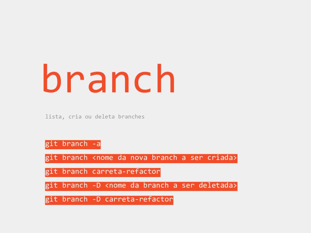 branch lista, cria ou deleta branches git branc...