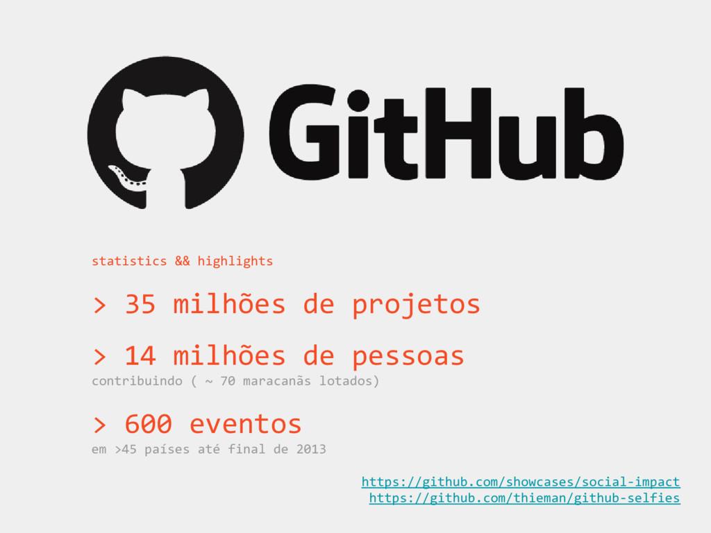 statistics && highlights > 35 milhões de projet...