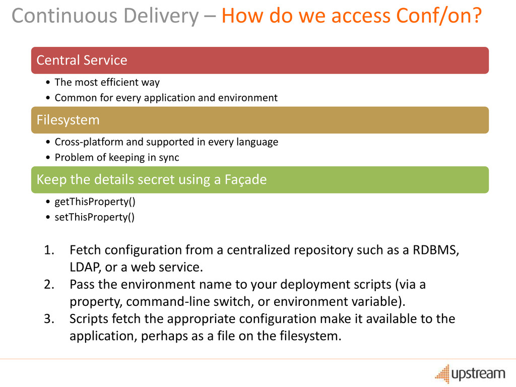 Continuous Delivery – How do we access Conf/on?...