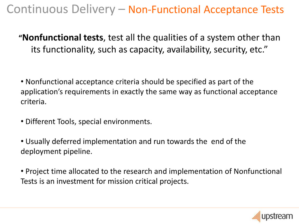 Continuous Delivery – Non-Functional Acceptance...