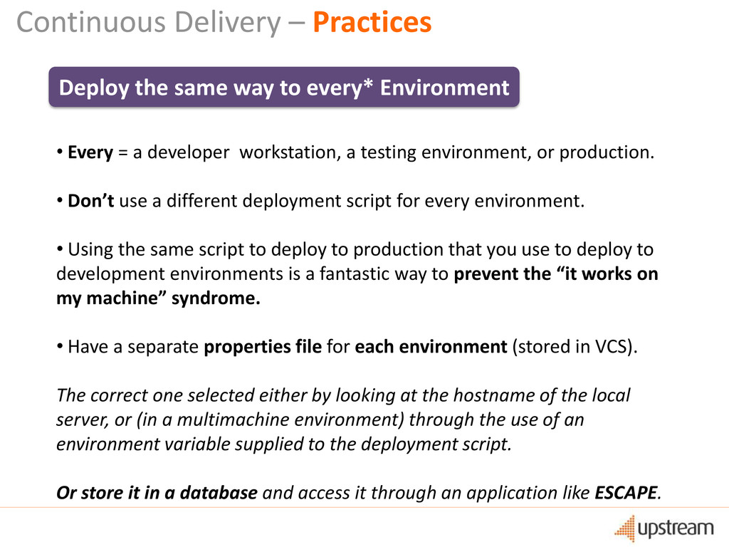 Continuous Delivery – Practices Deploy the same...