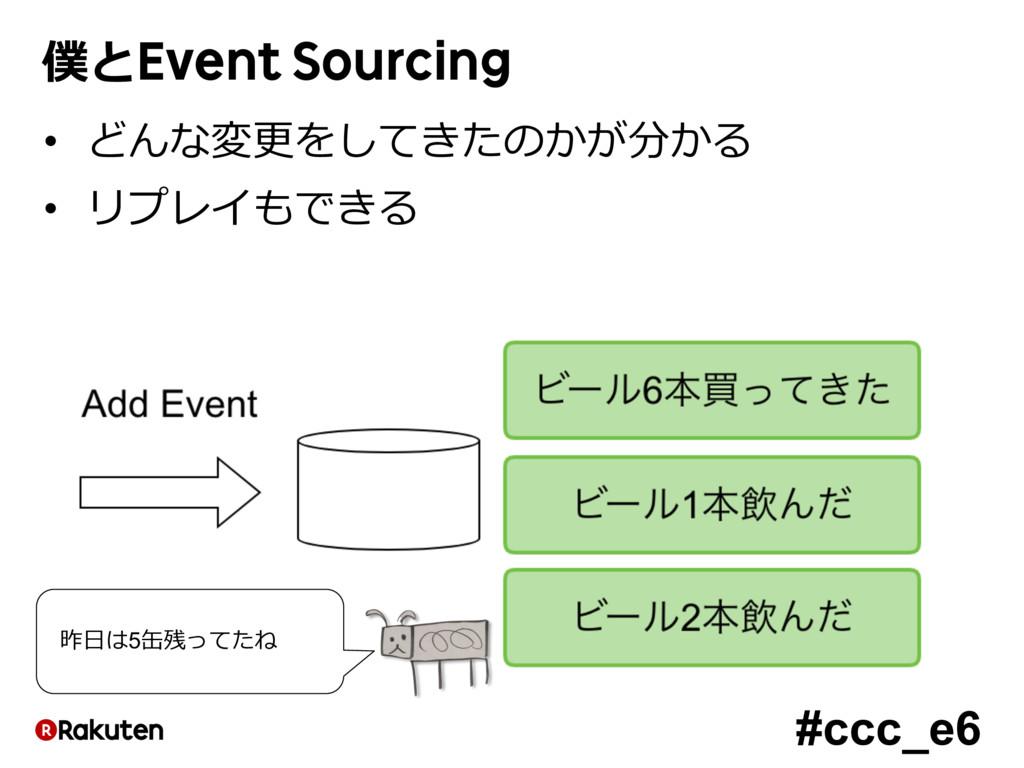 #ccc_e6 僕とEvent Sourcing • どんな変更をしてきたのかが分かる • リ...