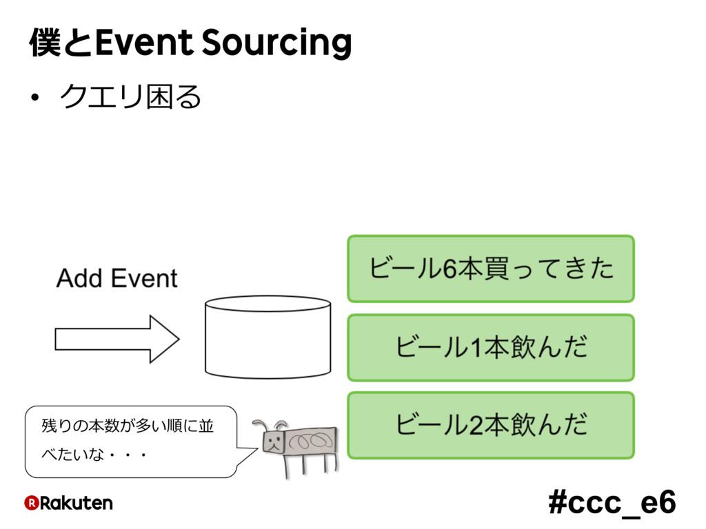 #ccc_e6 僕とEvent Sourcing • クエリ困る 残りの本数が多い順に並 べた...
