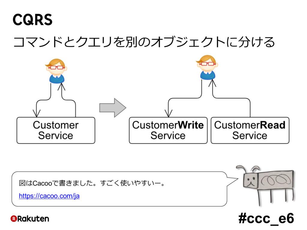 #ccc_e6 CQRS コマンドとクエリを別のオブジェクトに分ける 図はCacooで書きまし...