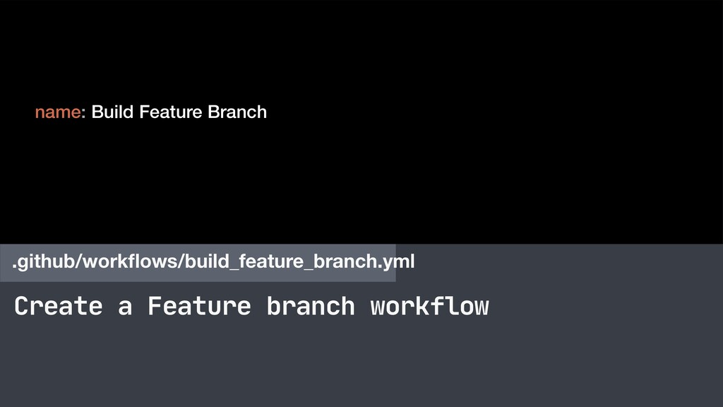 Create a Feature branch workflow .github/workflo...