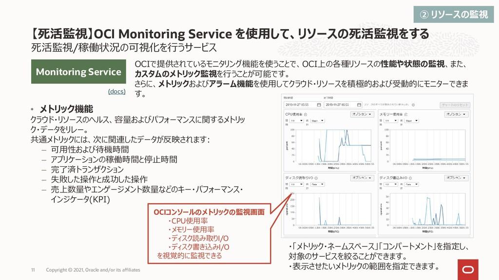 OCIで提供されているモニタリング機能を使うことで、OCI上の各種リソースの性能や状態の監視、...