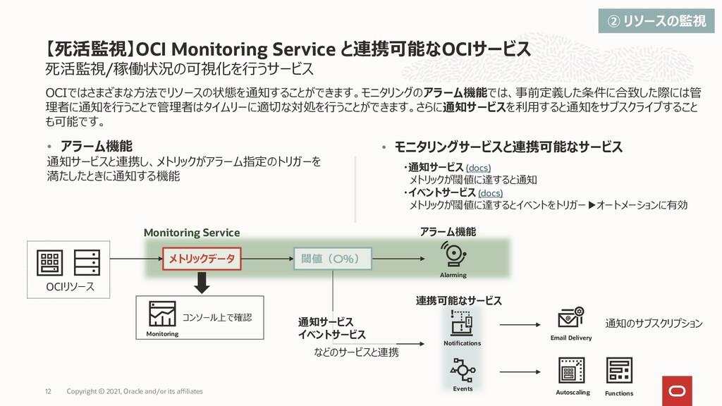 死活監視/稼働状況の可視化を行うサービス 【死活監視】OCI Monitoring Servi...