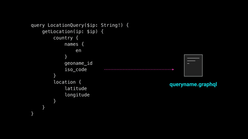 query LocationQuery($ip: String!) { getLocation...