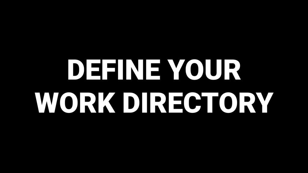 DEFINE YOUR WORK DIRECTORY