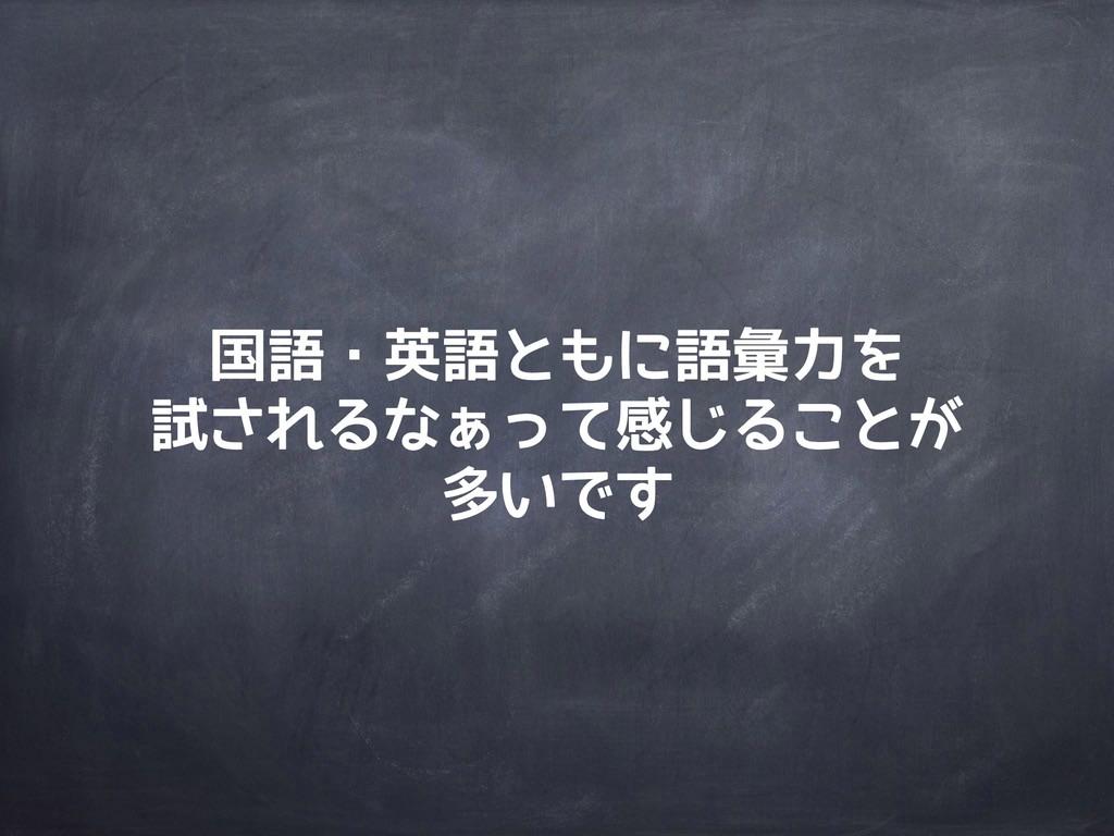 国語・英語ともに語彙力を 試されるなぁって感じることが 多いです
