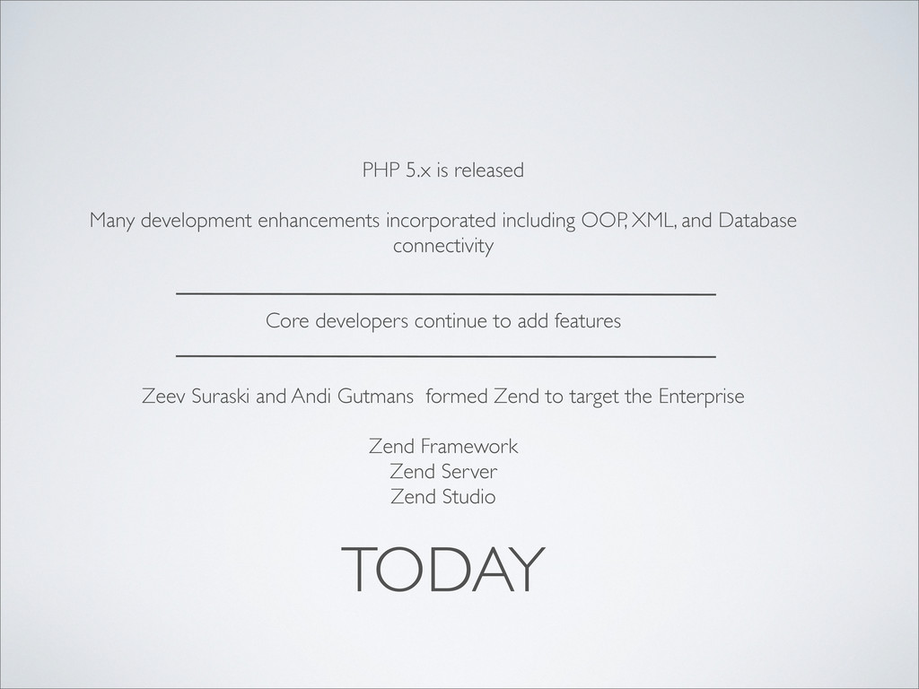 TODAY PHP 5.x is released Many development enha...